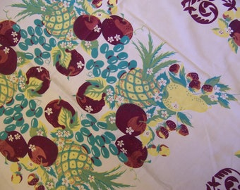 pineapple and fruit linen table cloth