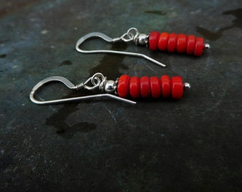 Painted Hills Earrings, Coral and Sterling Silver