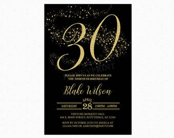 30th Birthday Party Invitation, Black, Gold Glitter, Milestone Birthday, Personalized for Any Age, Printable or Printed