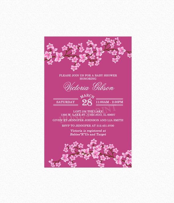 Cherry blossom baby shower invitation girl baby shower invitation il570xn filmwisefo