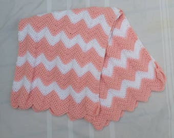 Crocheted Baby Blanket Pink and White