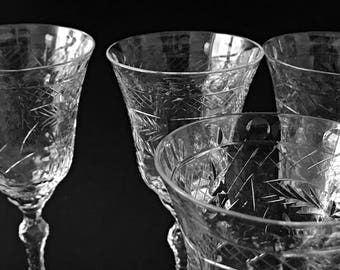4 Vintage Cut Crystal Wine Glasses Fancy Crystal Stemware Cut Glass Wine Glasses