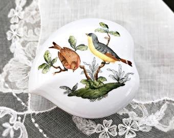 Herend Rothchild Bird Heart Trinket Box Hungarian Porcelain Jewelry Box