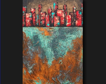 Abstract Cityscape - Heavy Textures - Rusted Iron Copper and Bronze - The Upside Down by Britt Hallowell