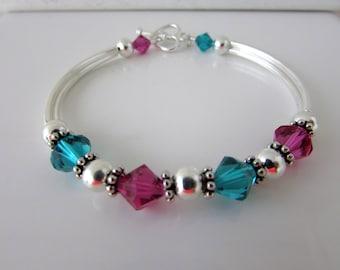 Indicolite Fuchsia Bracelet Bangle Bracelet Swarovski Bracelet Beaded Bracelet Birthstone Bracelet SWAROVSKI Jewelry Free US Shippinig