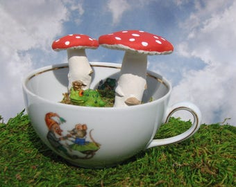 Vintage Bavarian Cup with Handmade Mushrooms with Tiny Frog Prince