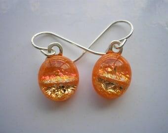Dichroic Glass Earrings Orange Sparkle Petite Earrings .925 Sterling Earwire Kiln Fused One of a Kind Homemade Jewelry Girls Earrings Dichro