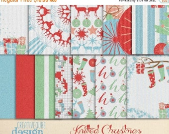 90% OFF Sale Digital paper, knitted Christmas pattern Papers, Digital Scrapbook paper pack, Instant download, 12 Digital Papers