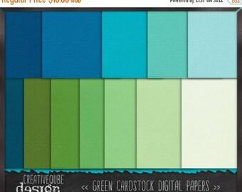 80% Off SALE Digital paper, Digital Scrapbook paper pack - Instant download - 12 Digital Papers - blue green cardstock
