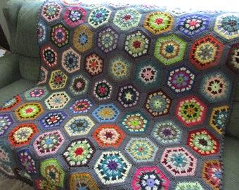 Handmade Crochet Charcoal Gray Edged Multi-Colored Kaleidoscope Afghan 48 x 68