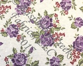 PRE-ORDER Plum Olive and Burgundy Floral on Oatmeal 4 Way Stretch French Terry Knit Fabric