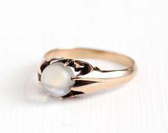 Antique 10k Rosy Yellow Gold Solitaire Moonstone Ring - Vintage Size 5 1/2 Edwardian 1900s Alluring White Gem Belcher Fine Jewelry