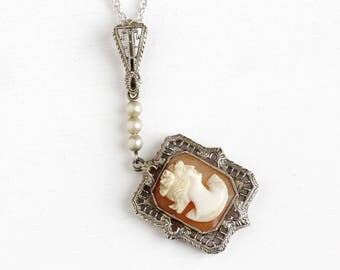 Antique 14k White Gold Carved Shell Cameo Lavalier Pendant Necklace - Vintage 1930s Fine Female Silhouette Filigree White Bead Jewelry