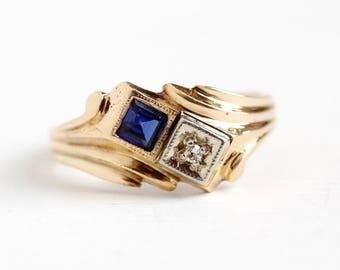 Vintage Diamond Ring - 14k Rosy Yellow Gold Created Sapphire Toi Et Moi - Retro 1940s Size 6 1/2 Two Tone Blue White Two Stone Fine Jewelry