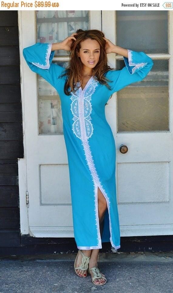 SUMMER 10% OFF // SPRING Trend | Turquoise Blue Caftan Kaftan Maxi Dress -Lella -loungewear, resortwear,spa robe, Wedding, Birthdays or Mate