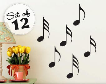 Wall Decal Music Notes, 12 Musical Notes Decals, Laptop Mini Decals, Vinyl Wall Decals