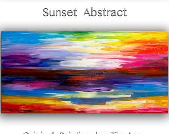 "sale Huge original Texture art Abstract painting Modern decor Sunset landscape by Tim Lam 48"" x 24"""