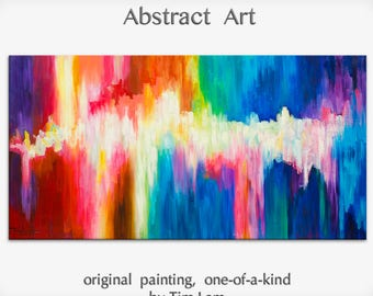 """Abstract Movement Art  Painting, Original Texture wall Art, abstract oil painting, Multi colors Modern Home Decor, by Tim Lam 48"""" x 24"""""""