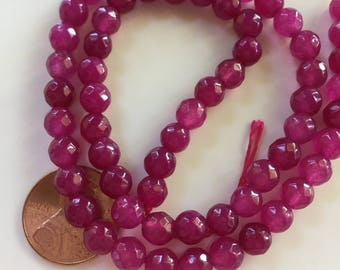 6mm JADE Beads in Violet Pink, Faceted, Round, 1 Strand, 62 Beads, Semi Translucent Gemstones Beads, Stone Beads