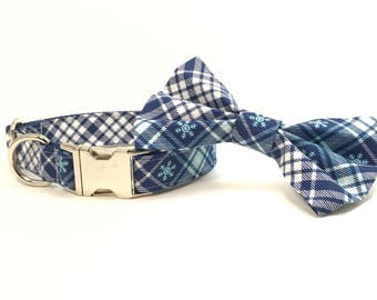 Handmade Dog Collar and Bow Tie Set - Snowflake Plaid in Blue - Custom Made Holiday Dog Collar with matching bowtie in Navy Blue Periwinkle
