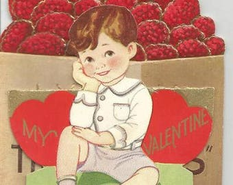 1930s Vintage Valentine Card Pull-Out If You Ask Me I Think You're the Berries Valentine Greeting Card Valentine's Day