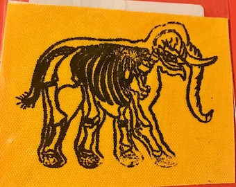 colored duck cloth screen printed elephant skeleton patch