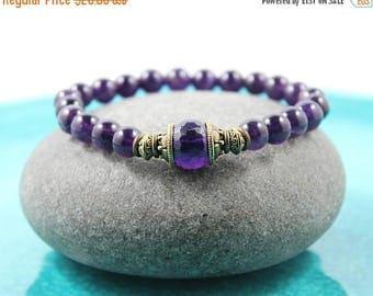 LATE SHIP SALE Amethyst Bracelet,  Mala Bracelet, Gemstone Bracelet, Yoga Stretch Bracelet, Amethyst Stretch Bracelet, Yoga Bracelet, Purple
