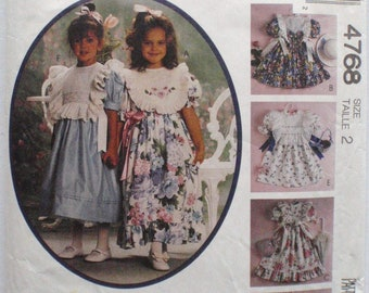 McCall's 4768 - Kitty Benton Gourmet Sewing -  Toddler's Dress and Detachable Pinafore Sewing Pattern - Size 2, Breast 21