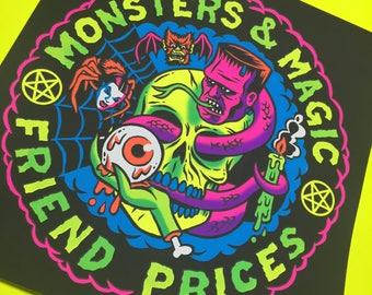 Monsters and magic screenprint
