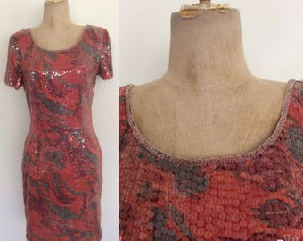 1980's Red Abstract Print Sequin Cocktail Party Dress Size Medium by Maeberry Vintage