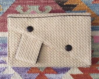 1960's Beige Woven Clutch Vintage Wristlet Bag by Maeberry Vintage
