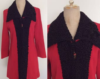 1960's Black Persian Lamb Trim Red Wool Jacket Size Small Medium by Maeberry Vintage