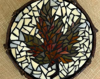Stained Glass Mosaic Trivet, Fall Leaf