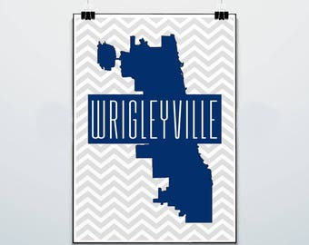 Chicago Map - Wrigleyville - Print - Poster - Wrigleyville Nation - Chicago Cubs