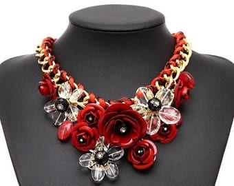 25% Off Sale Crystal Flowers Charm Pendant Big Chunky Bib Statement Necklace/Free Shipping