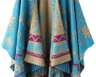 25% Off Sale Women's Wool Tassel Pashmina Shawl Wrap Bohemian Cape