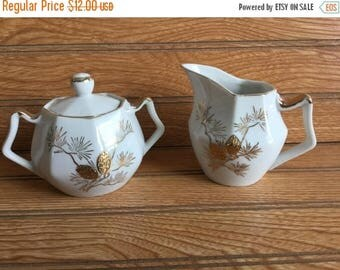 Sale Vintage Made in Japan Sugar and Creamer Gold Trim Pine Cone
