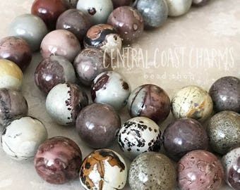 12mm Crazy Horse Jasper Smooth Round Gemstone Beads (14) Natural Earthy Rustic Bohemian Mala Healing Chakra - Central Coast Charms
