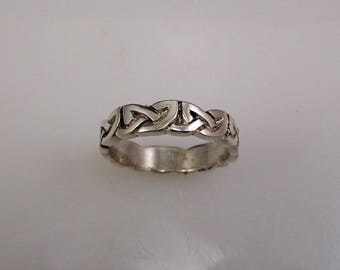 Heavy Cast Silver Celtic Ring