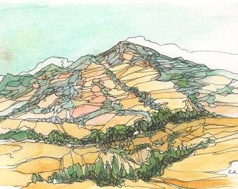Original Watercolor - Mt. Diablo