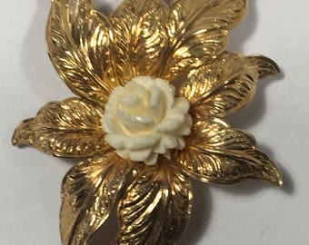 Vintage Gold Filled Leaf Brooch 12k HG Ivory Colored Rose