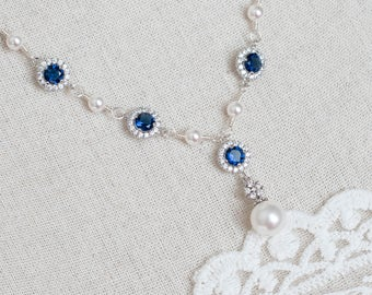 Blue Sapphire Necklace, Bridal Pearl/Sapphire CZ Necklace, Something Blue Necklace, Wedding Jewelry, Bridal Jewelry, Sapphire Pearl Necklace