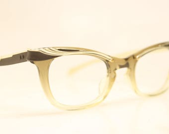 Small Unused Vintage Cat eye glasses Bronze fade cat eye frames NOS