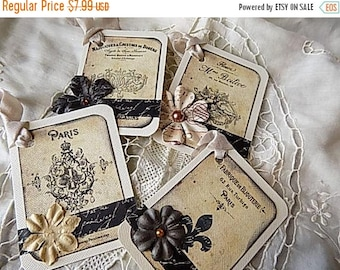 4 French Inspired Hang Tags Cottage Chic Gift Tag Beige Black Ribbons Flowers
