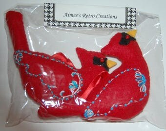 2 Hand Crafted Felt  Christmas Snow Cardinals Birds  Ornaments -White & Blue Embroidery