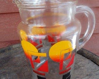 GLASS PITCHER. w/ ice lip. Atomic Kitchen. Geometric Kitchen. 1950s. 1960s. colorful pitcher. bold. Atomic. Geometric Decor. Serving.