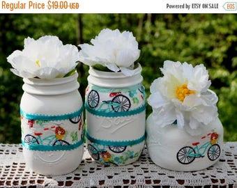 FINAL CLEARANCE Mason Jars Painted Decoupage Shabby Chic Milk Glass Effect Home Décor Tea Party Baby Shower Wedding Centerpiece