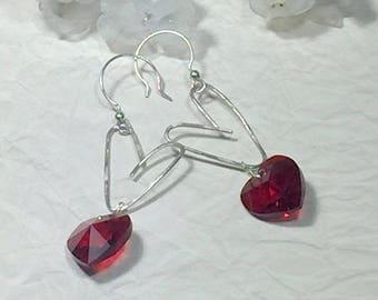 Silver heart drop earrings, crystal earrings, girlfriend gift, red earrings, everyday earrings, sterling earrings, drop earrings, boho chic