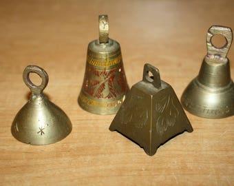 Vintage Brass Bells - set of 4 - item #2828
