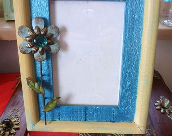 Wood Photo Frame, Teal & Yellow Metal Flower, Free Standing Picture Frame, Gem Accent, Hand Decorated OOAK